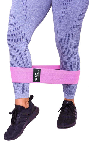Closeup of Premium Pink Booty Band-  Medium resistance band - 76cm diameter  | ThiqActive