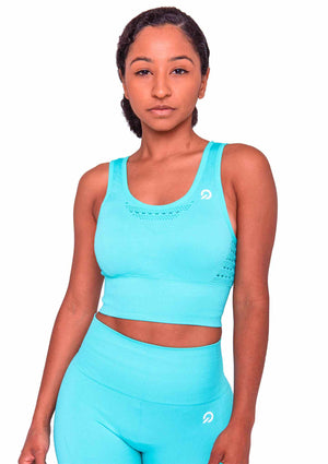Activewear - Performance Activewear Sports Bra - Cyan - THIQ