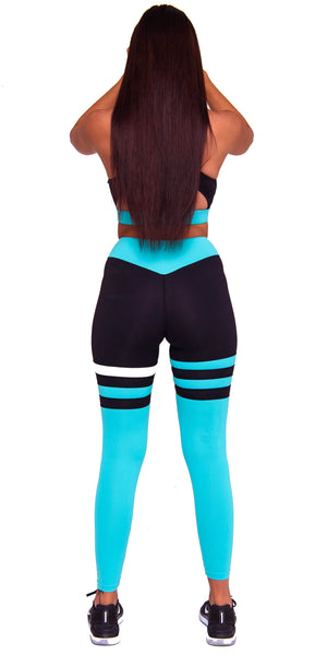 Activewear - Cali Seamed Leggings - Cyan - THIQ