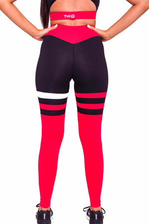 Activewear - Cali Seamed Leggings - Red - THIQ