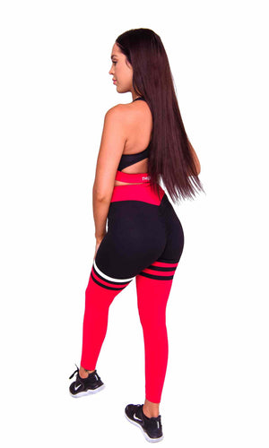 Activewear - Cali Scrunch Leggings - Red - THIQ