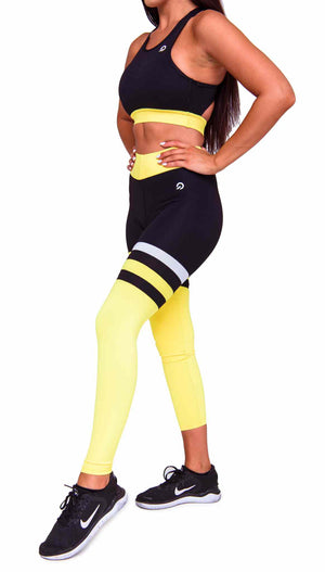 Cali Seamed Booty Leggings in Yellow | ThiqActive