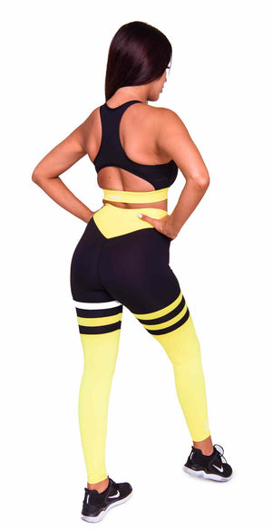 Rear Cali Seamed Booty Leggings in Yellow | ThiqActive