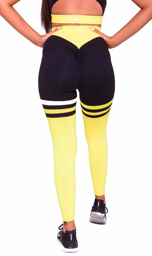 Activewear - Cali Scrunch Leggings - Yellow - THIQ