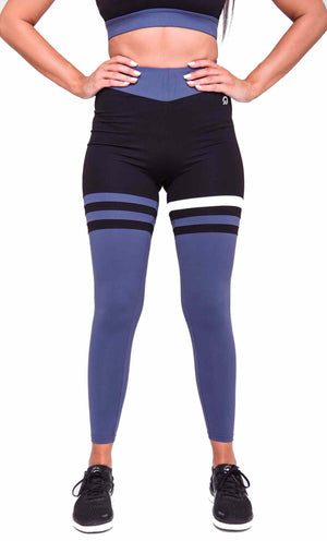Activewear - Cali Seamed Leggings - Midnight Blue - THIQ