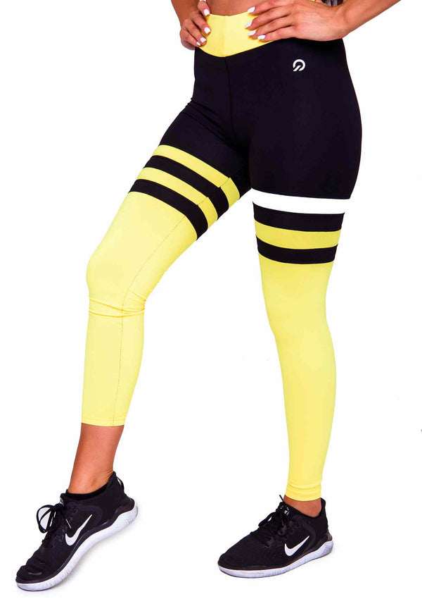 Side Cali Seamed Booty Leggings in Yellow | ThiqActive