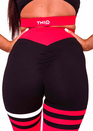 Rear Cali Scrunch Booty Leggings in Red | ThiqActive