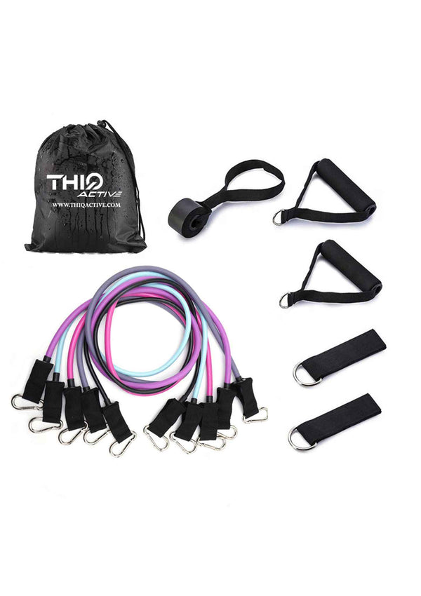 ThiqActive 11x Resistance Booty Band Workout Set includes 5 bands, ankle straps, handles and door anchor