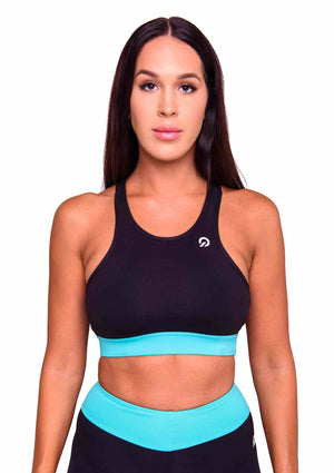 Front Cali Activewear Sports Bra in Cyan | ThiqActive