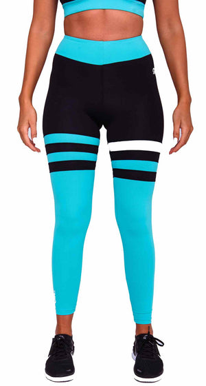 Front Cali Seamed Booty Leggings in Cyan | ThiqActive