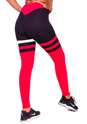 Side Cali Seamed Booty Leggings in Red | ThiqActive
