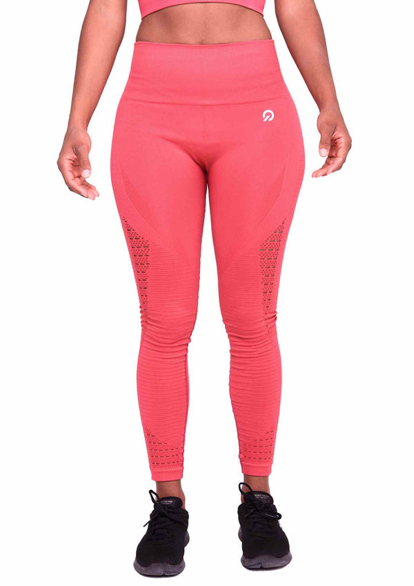 Perfect fit wearing Performance Seamless Booty Leggings in Rose Red | ThiqActive