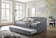 Load image into Gallery viewer, Daybed with trundle bed frame fabric upholstery - grey