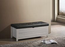 Load image into Gallery viewer, Blanket Box Ottoman Storage With Leather Upholstery In White Oak