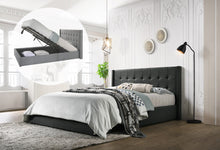 Load image into Gallery viewer, Double Sized Winged Fabric Bed Frame with Gas Lift Storage in Charcoal