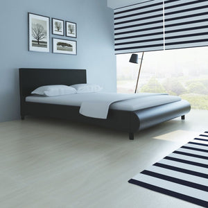 Kingston Bed with Memory Foam Mattress Black Faux Leather King Size