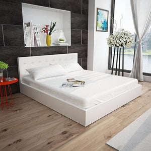 Bankside Bed with Memory Foam Mattress White Faux Leather King Size