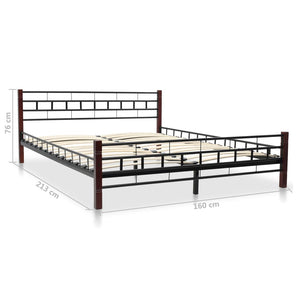 Classical Bed Frame Black Metal Queen