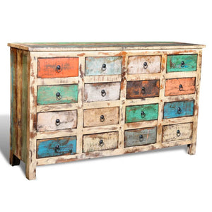 Reclaimed Cabinet Solid Wood Multicolour with 16 Drawers