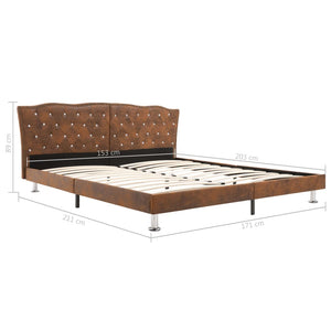 Toni Bed Frame Brown Fabric Queen