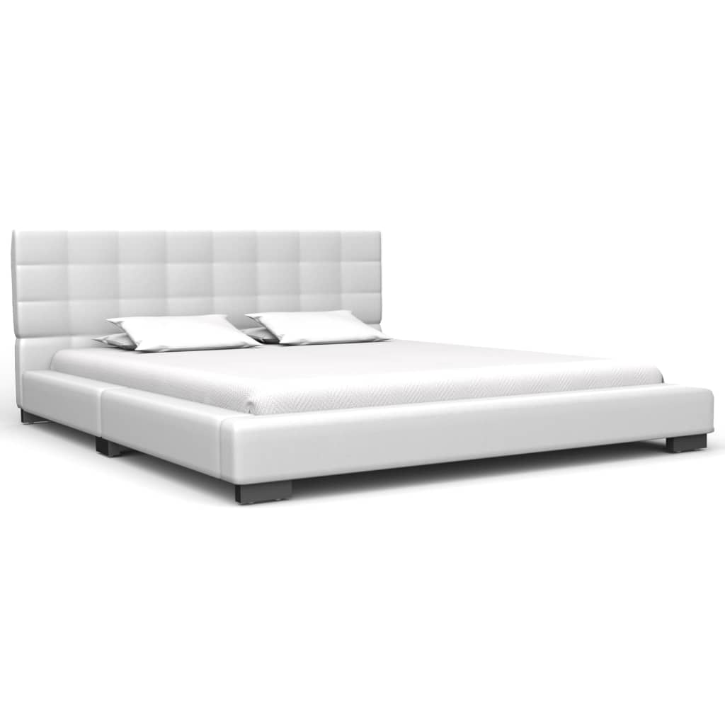 Seven Bed Frame White Faux Leather  Double