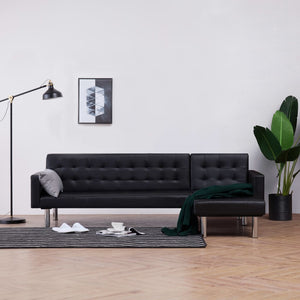 L-shaped Sofa Bed Black Faux Leather