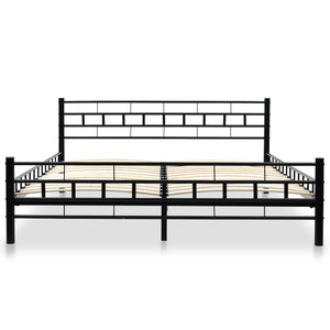 Bexley Bed with Memory Foam Mattress Black Metal Queen