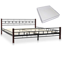 Load image into Gallery viewer, Classical Bed with Memory Foam Mattress Black Metal  King
