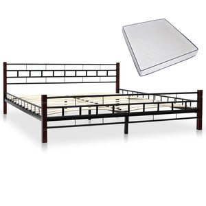 Classical Bed with Memory Foam Mattress Black Metal  King