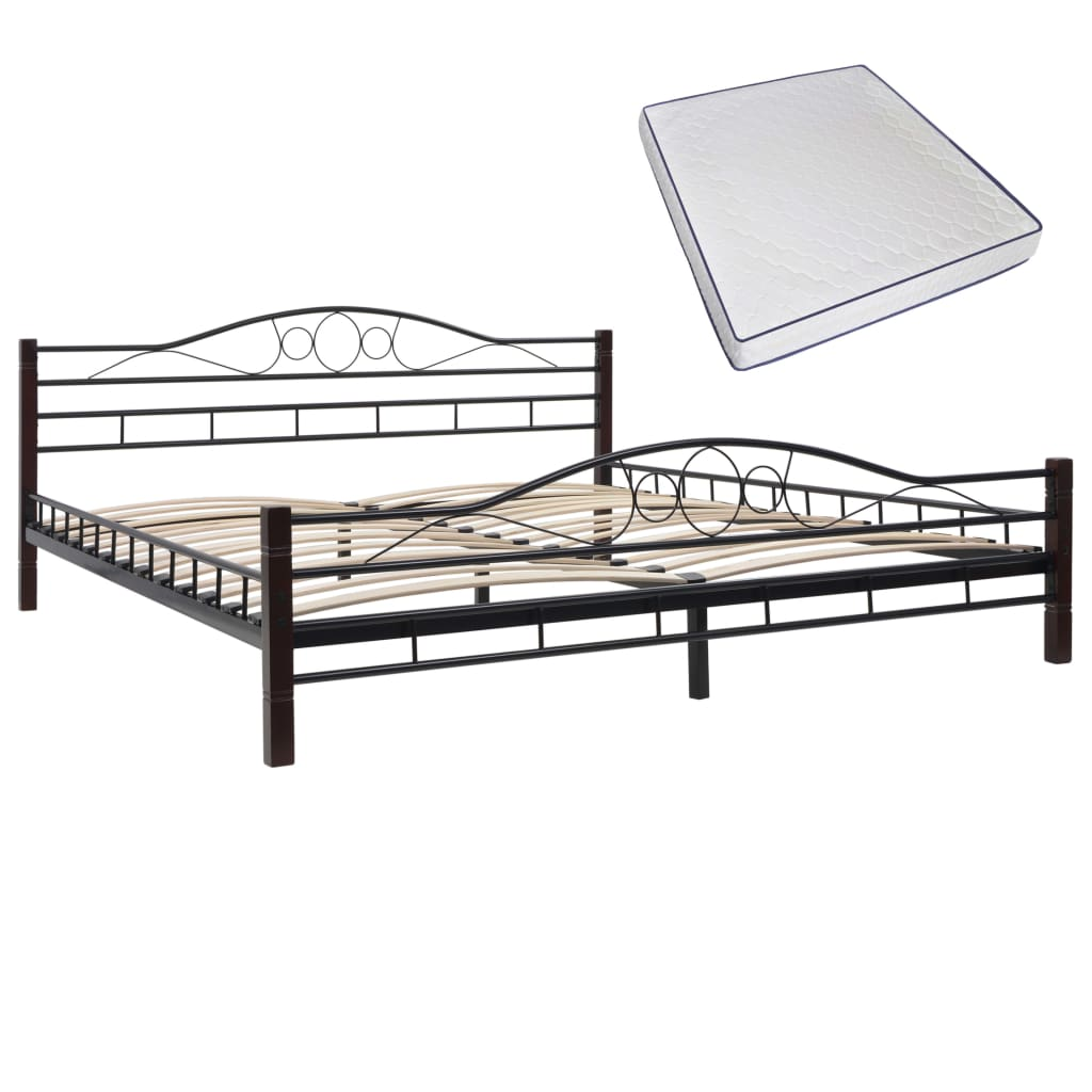 Bed with Memory Foam Mattress Black Metal  King