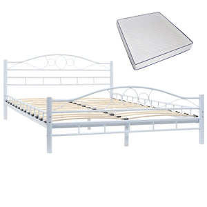 Blendon Bed with Memory Foam Mattress White Metal Double
