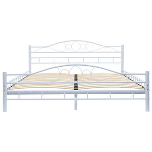 Blendon Bed with Memory Foam Mattress White Metal Queen