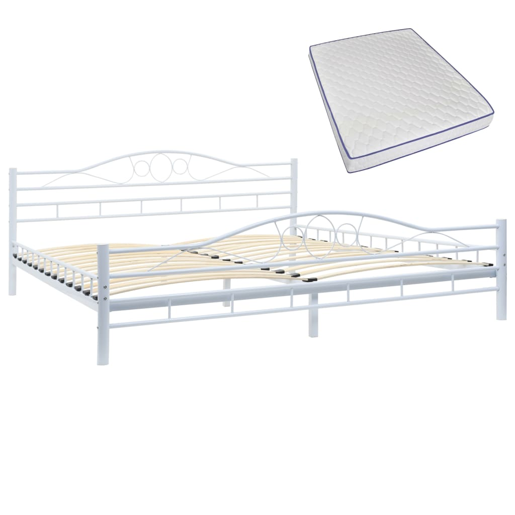 Blendon Bed with Memory Foam Mattress White Metal King