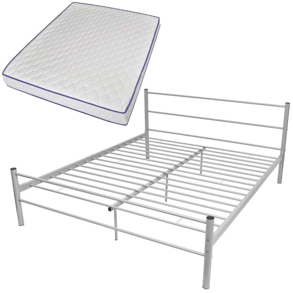 Coombe Grey Bed Frame with Memory Foam Mattress Queen Size