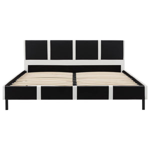 Fulham Bed Frame Black and White Faux Leather King Single