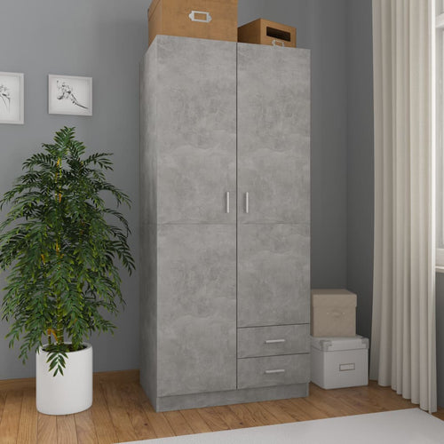 Wardrobe Concrete Grey 80x52x180 cm Chipboard