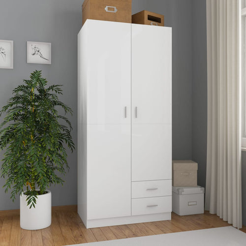 Wardrobe High Gloss White 80x52x180 cm Chipboard