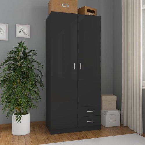 Wardrobe High Gloss Black 80x52x180 cm Chipboard