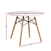 Load image into Gallery viewer, Artiss Round Dining Table 4 Seater 90cm White Replica Eames DSW Cafe Kitchen Retro Timber Wood MDF Tables