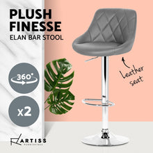 Load image into Gallery viewer, Artiss 2x Bar Stools Kitchen Gas Lift Swivel Chairs Leather Chrome Grey