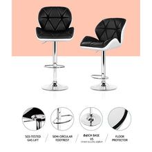 Load image into Gallery viewer, Artiss 2x Kitchen Bar Stools Swivel Bar Stool Chairs Leather Gas Lift Black