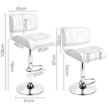 Load image into Gallery viewer, Artiss Set of 2 PU Leather Gas Lift Bar Stools - White