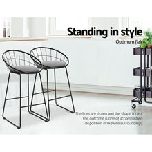 Load image into Gallery viewer, Artiss 2x Nordic Bar Stools Metallic Bar Stool Kitchen Fabric Grey Black