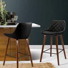 Load image into Gallery viewer, Artiss 2x Kitchen Bar Stools Wooden Stool Chairs Bentwood Barstool Leather Black