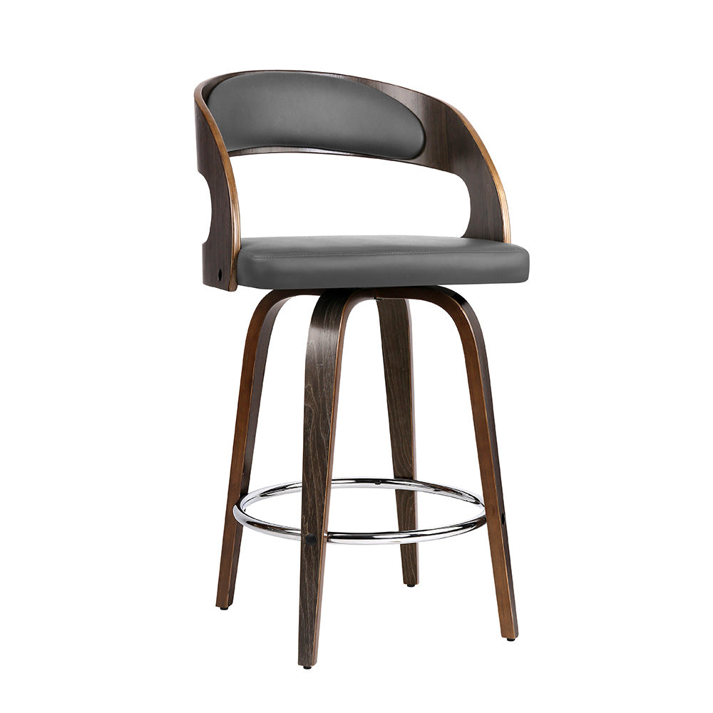 Artiss Set of 2 Walnut Wooden Bar Stool - Grey and Walnut