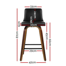 Load image into Gallery viewer, Artiss 2x Kitchen Wooden Bar Stools Swivel Bar Stool Chairs Leather Luxury Black