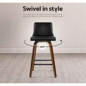 Artiss 2x Kitchen Wooden Bar Stools Swivel Bar Stool Chairs Leather Luxury Black