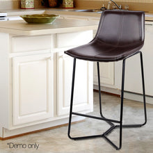 Load image into Gallery viewer, Artiss Set of 2 PU Leather Bar Stools - Metal Black