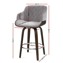 Load image into Gallery viewer, Artiss 1x Kitchen Bar Stools Wooden Bar Stool Chairs Swivel Velvet Fabric Grey