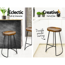 Load image into Gallery viewer, Artiss Set of 2 Wooden Backless Bar Stools - Black